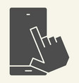 smartphone with pointing hand solid icon touch vector image