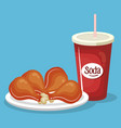soda with chicken thighs fast food menu vector image vector image