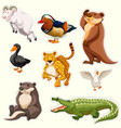 sticker set with different creatures vector image vector image