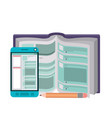 text book with pencil and smartphone icon vector image vector image