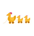toy hen and chicken babies vector image vector image