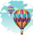 Two balloons flying in the sky vector image