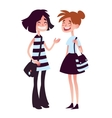 Two girls talking and laughing vector image vector image