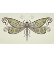 vector dragonfly with unique pattern vector image vector image