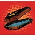 Wooden coffin with Christian cross vector image