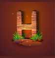 wooden letter h decorated with grass vector image vector image