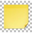 Yellow stick note on transparent texture backdrop vector image