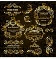 set gold frame and vintage design elements vector image