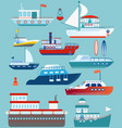 set of flat yacht boat cargo vector image
