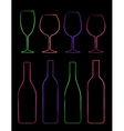 colorful linear set of bottle and glass vector image