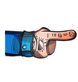 hand drawn index finger hand with tattoo isolated vector image