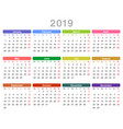 2019 year annual calendar monday first english vector image
