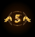 5 years anniversary celebration logotype golden vector image