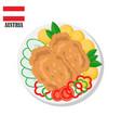austria wiener schnitzel cutlet vector image