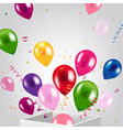 birthday card with box and balloons vector image vector image