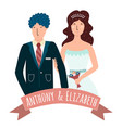 bride and groom with ribbon vector image