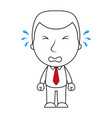 businessman line cartoon face crying sad expressio vector image vector image