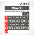 Calendar 2013 March vector image vector image