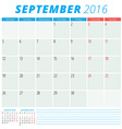 Calendar 2016 flat design template September Week vector image vector image