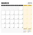 calendar planner for march 2019 stationery design vector image vector image