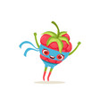 cartoon character of superhero raspberry with vector image