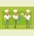 cartoon flat strong chef cook man character set vector image vector image