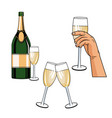 champagne toast pop art vector image