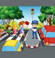 children crossing road in city vector image vector image