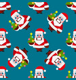 christmas cartoon characters seamless pattern vector image vector image