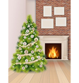 Christmas interior with Christmas tree and vector image vector image