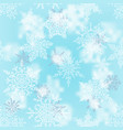 christmas white and silver snowflakes on blur blue vector image vector image