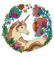 colorful elegance unicorn with flowers vector image