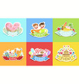 cute holiday stickers set colorful prints vector image vector image