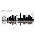 dusseldorf germany city skyline black and white vector image vector image