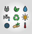 ecology icon set vintage style colorful vector image