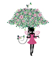 Fairy with Floral Umbrella2 vector image