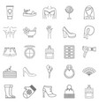female icons set outline style vector image