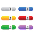 flash drives in different colors vector image