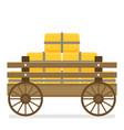 flat of wooden cart vector image vector image
