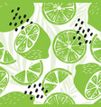 fruit seamless pattern lime with tropical leaves vector image vector image