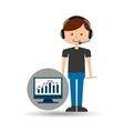 guy operator help service computer statistics vector image vector image