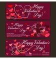 Happy Valentines day banners Shiny hearts and vector image vector image