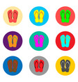 icon logo for set symbols summer slippers sandal vector image vector image