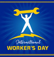international workers day man on blue sunbeams vector image