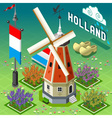 Isometric Holland Barn - Windmill Building vector image