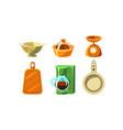 kitchen utensils set cooking tools colander vector image