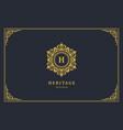 luxury vintage ornament logo monogram crest vector image vector image