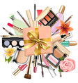 makeup cosmetics with gift vector image vector image