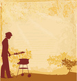 man silhouette cooking on his barbecue Invitation vector image vector image