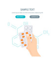 pharmacy bottle and pills concept in flat style vector image vector image